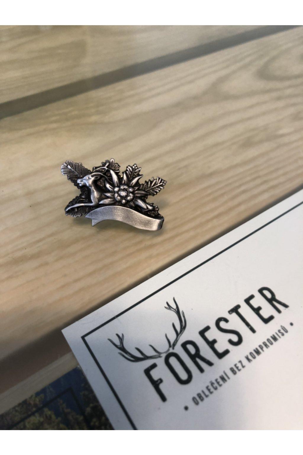 Odznak - protěž+jelen stříbrná
