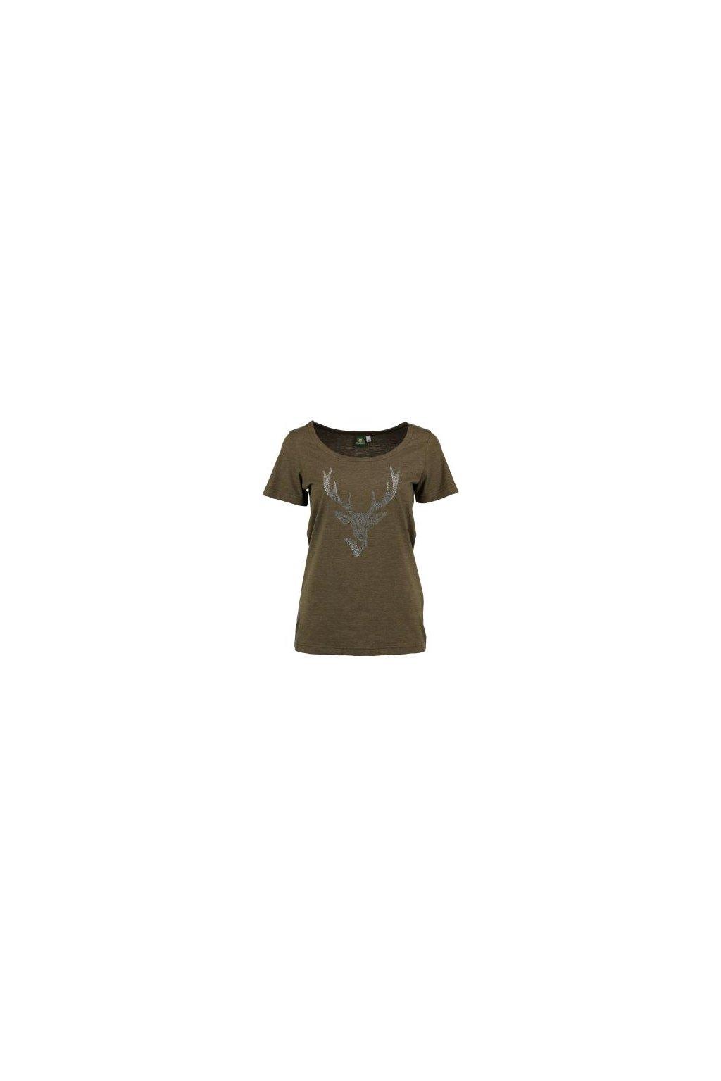ORBIS - tričko dámské oliv flitry (3460)