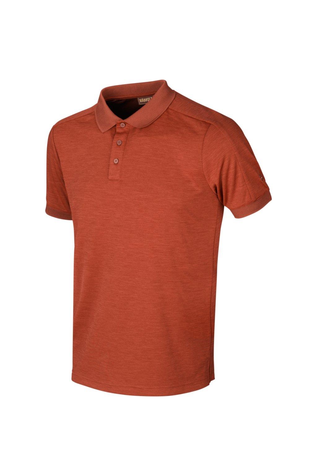 HÄRKILA - Polo Härkila Tech triko s kr.rukávem (dark burnt orange)