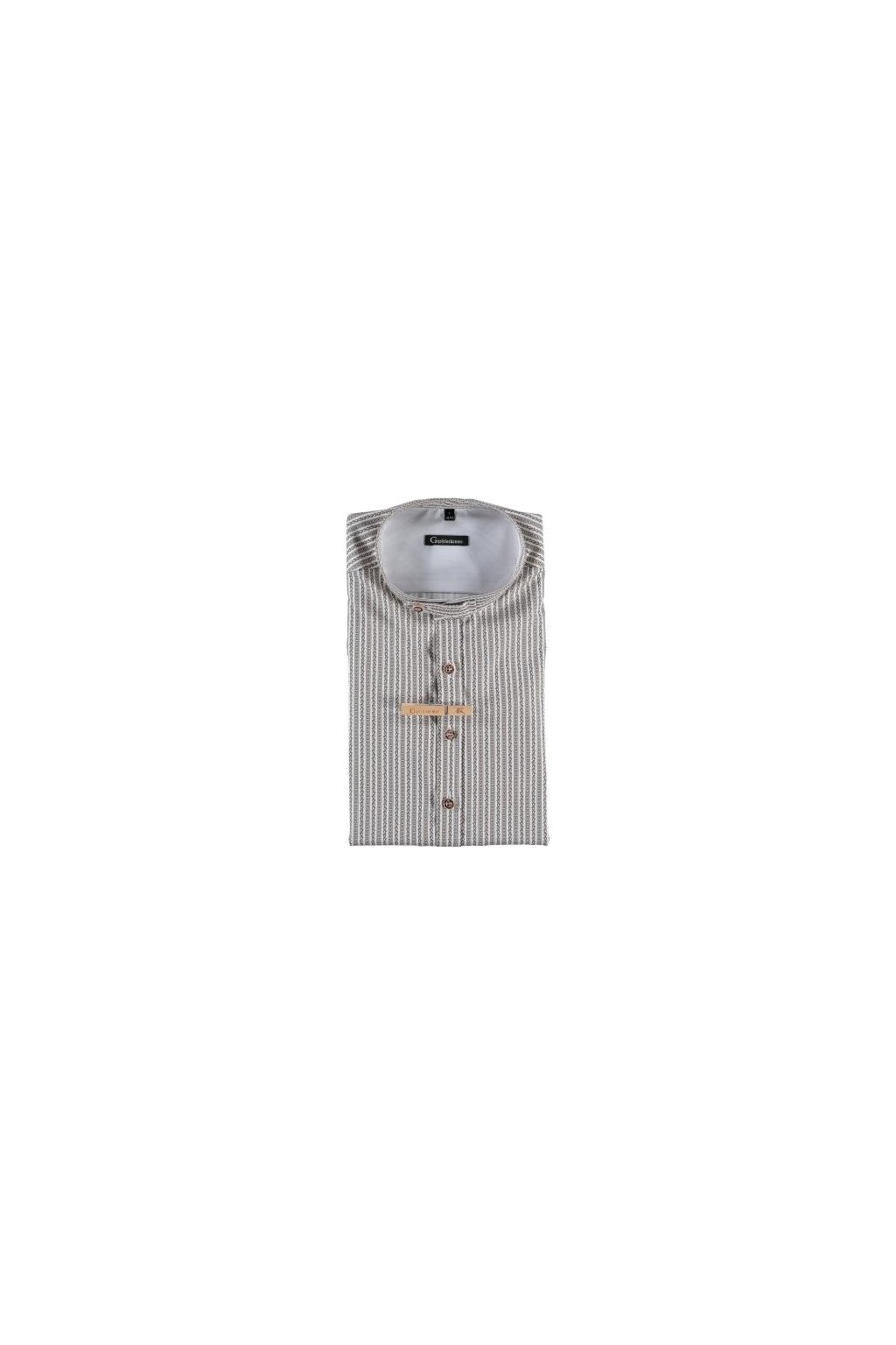 Gipfelstürmer - Elegantní pánská košile hnědá Slim Fit se stojáčkem (4044)