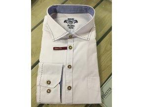 ORBIS - košile pánská bílá modrý prošívaný límec Slim Fit