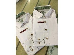 ORBIS - košile pánská bílá zelený prošívaný límec Slim Fit