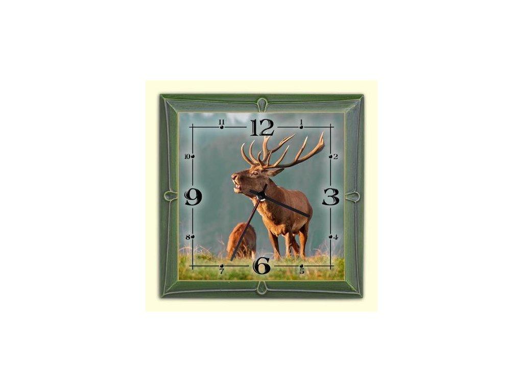 Drevené nástenné hodiny s motívom lesnej poľovnej zvery - JELEŇ ... 4803b7d4e23