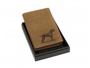 Poľovnícke Kožené púzdro na doklady - lovecký pes