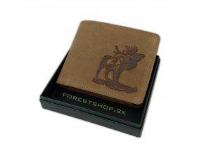 Kožená poľovnícka peňaženka ručiaci jeleň