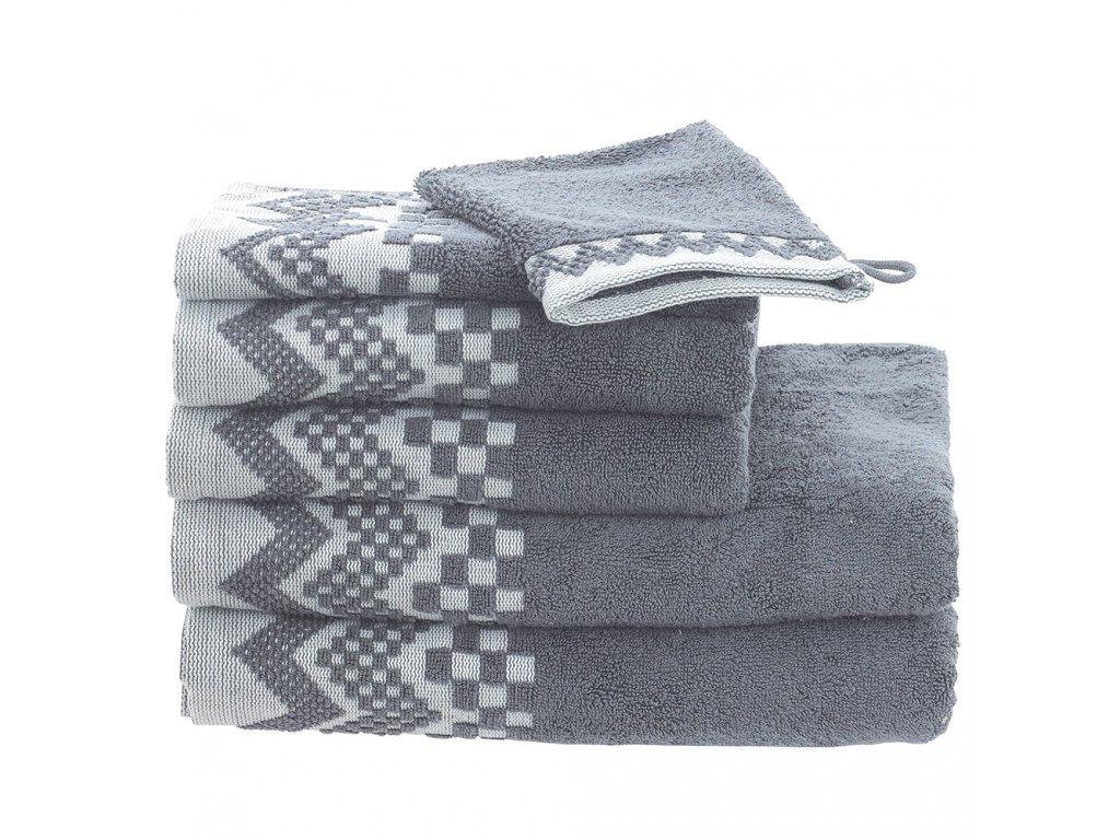 ZIG ZAG Šedý ručník, Garnier Thiebaut