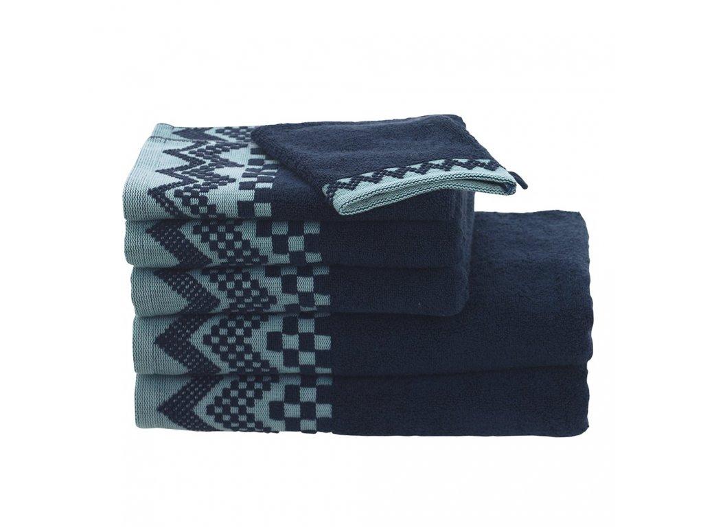 ZIG ZAG Petrolejově modrý ručník, Garnier Thiebaut