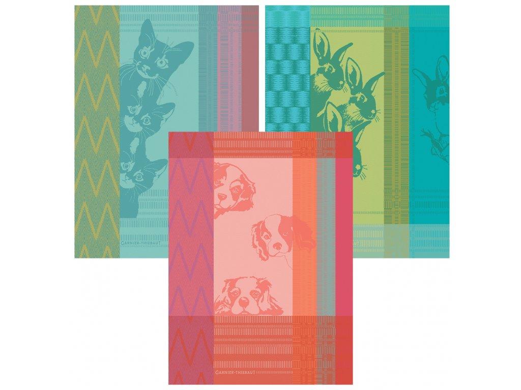 PETITS ANIMAUX Multicolore Sada 3 utěrek 56 x 77 cm