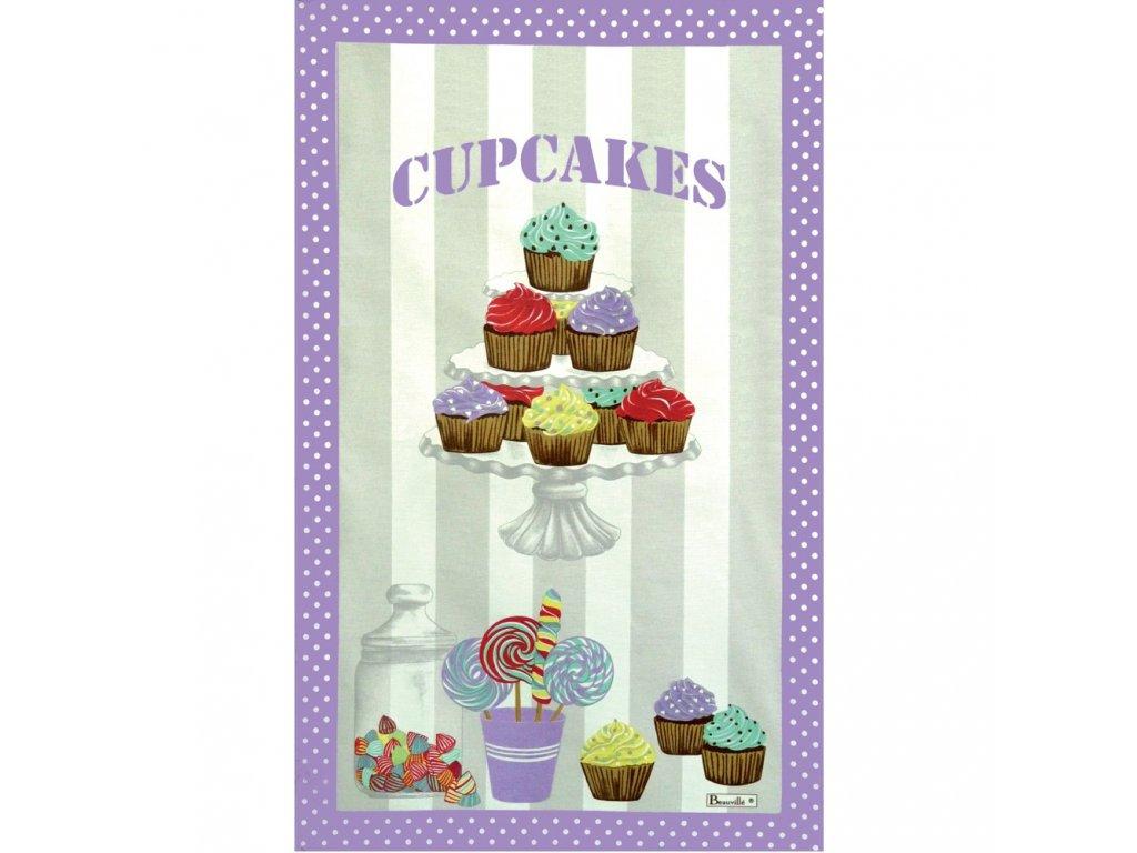 Cupcakes fialová utěrka 50x80 cm, Beauvillé