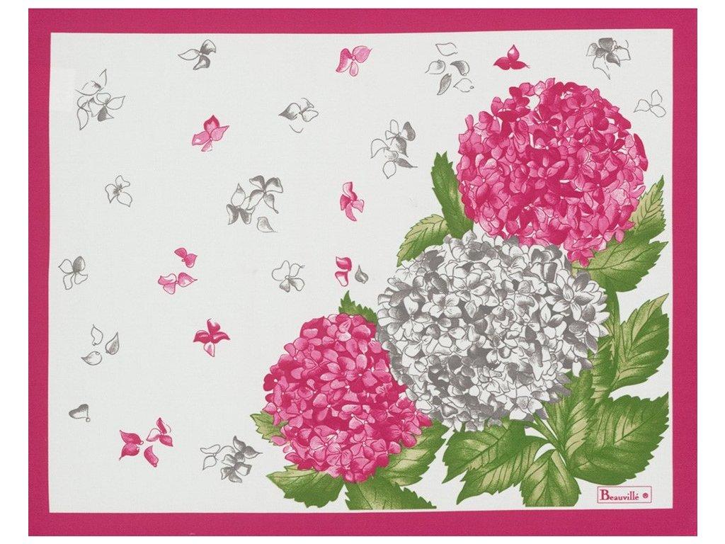 Beauvillé Hortensias růžová prostírka 38x48 cm
