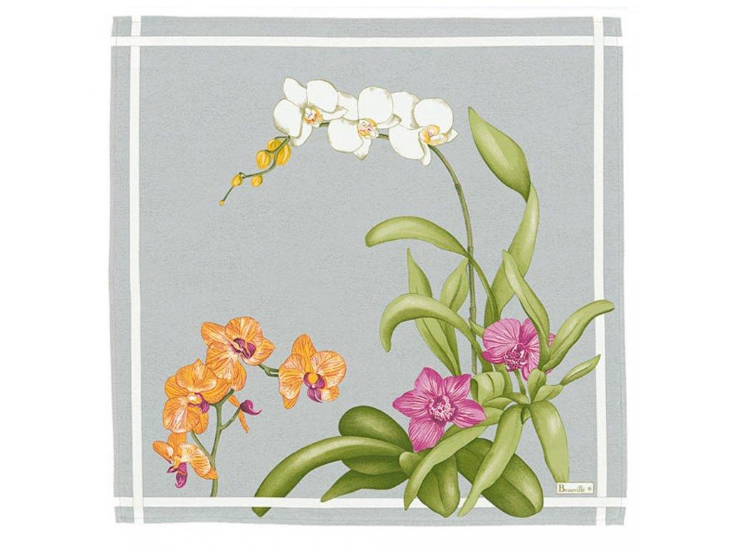 Beauvillé Orchidees šedý ubrousek 52x52 cm