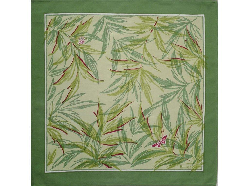 Beauvillé Pivoines zelený ubrousek 55x55 cm
