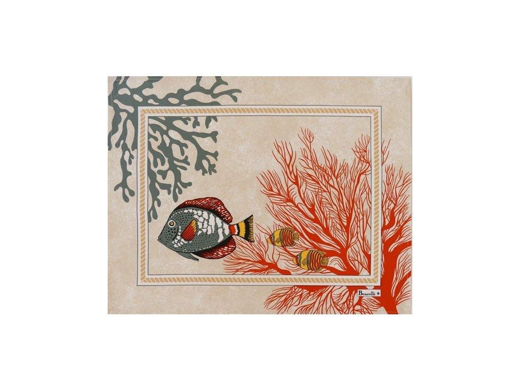 Beauvillé Porquerolles korálově červená prostírka 38x48 cm s ochranou proti ušpinění