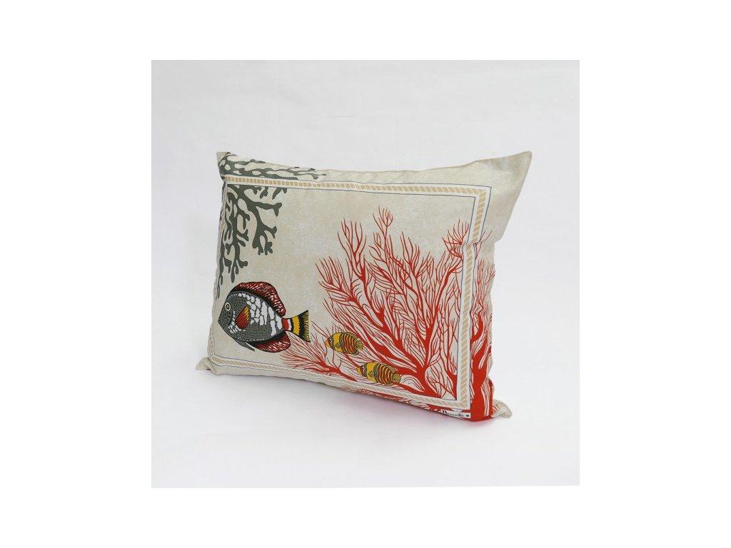 Beauvillé Porquerolles korálově červený povlak na polštář 40x50 cm