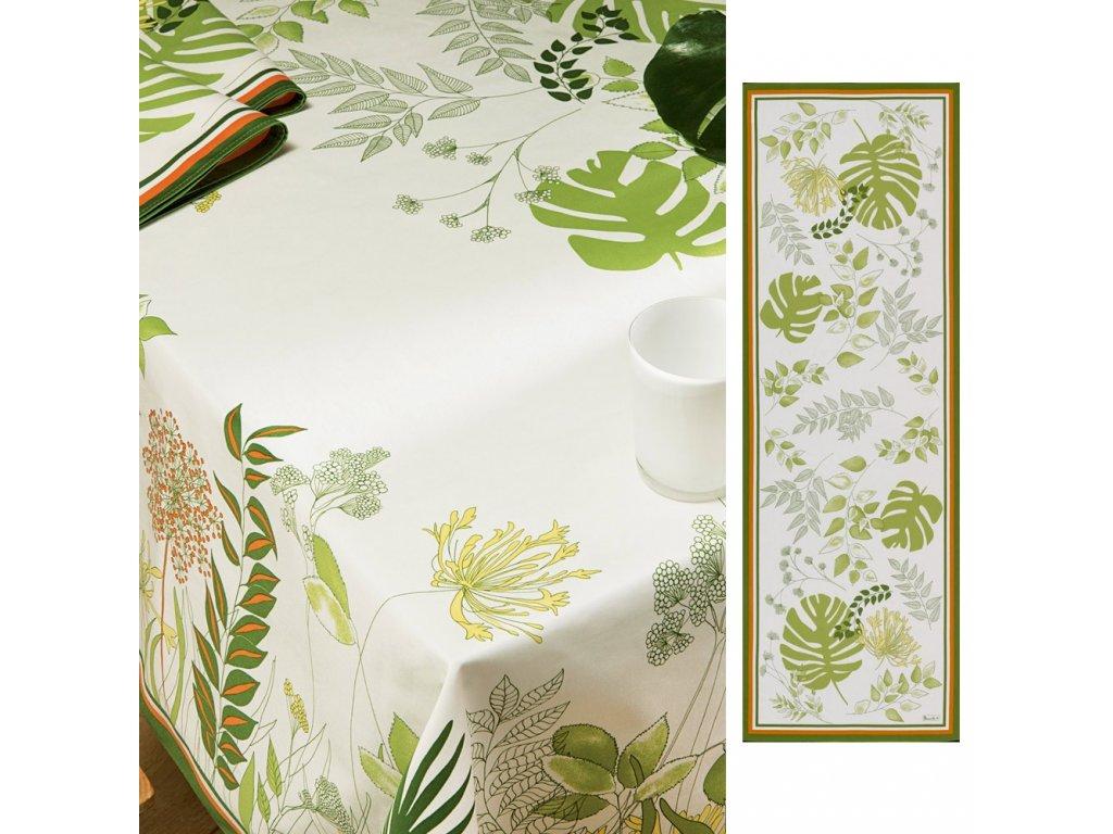 Beauvillé Agapanthes zelený běhoun 50x150 cm