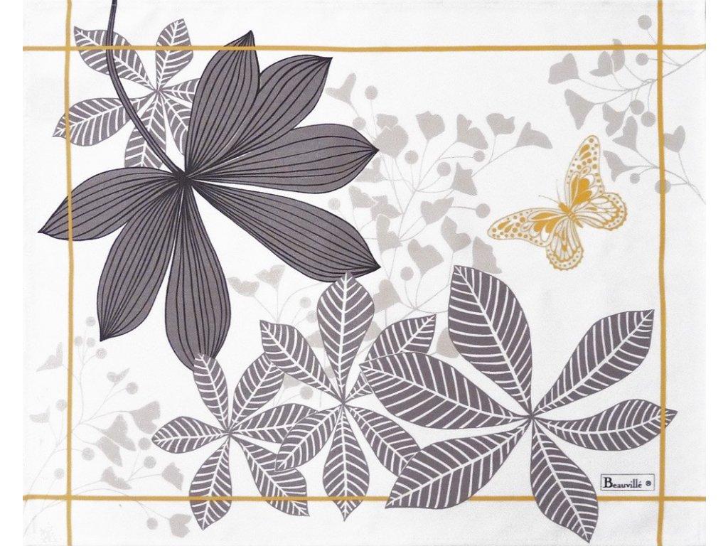Beauvillé Grandes Palmes šedá prostírka 38x48 cm