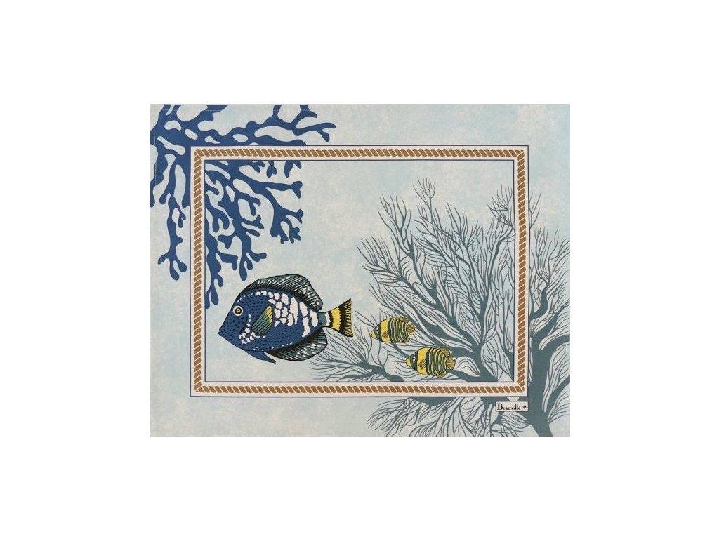 Beauvillé Porquerolles modrá prostírka 38x48 cm s ochranou proti ušpinění