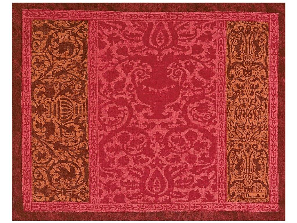 Beauvillé Rialto granátově červená prostírka 40x50 cm