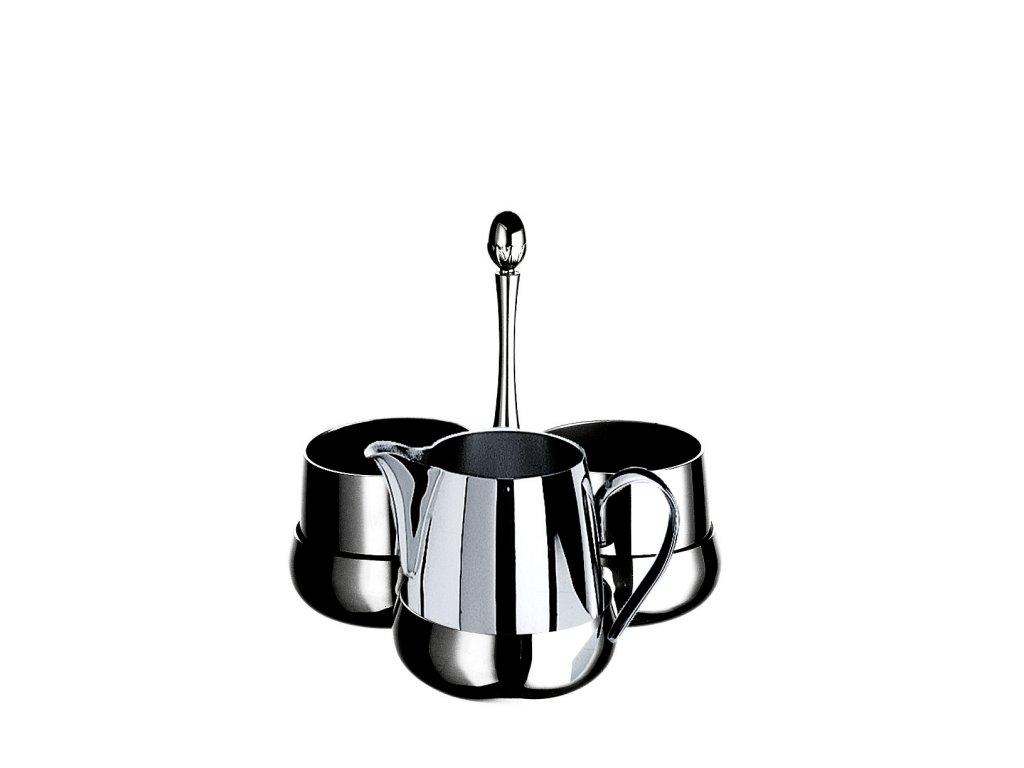 Palace Sada Caffé Macchiato 3 kusy na podnosu, 2x šálek 15 cm a 1x mléčenka 15 cl, výška 18 cm, Mepra