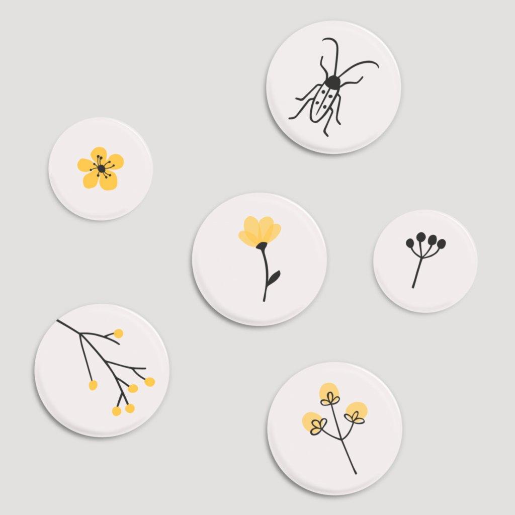 magnetky s broukem žluté