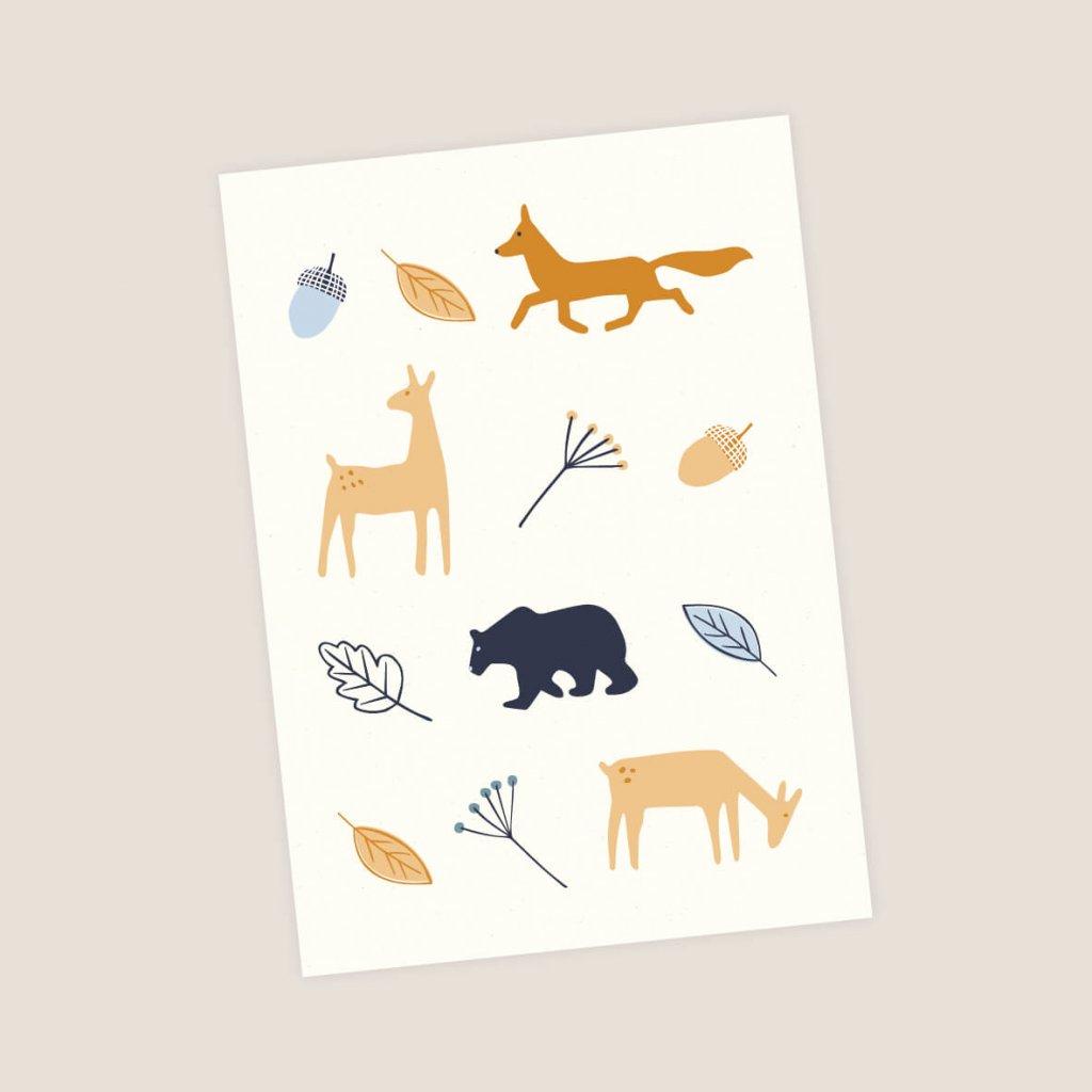 pohlednice zviratka z lesa