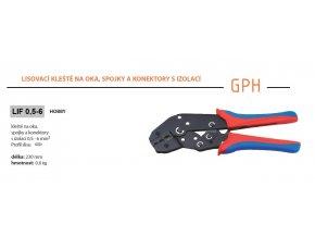 Kleště lisovací GPH LIF 0,5-6 na oka, spojky a konektory s izolací, průřez 0,5-6mm2