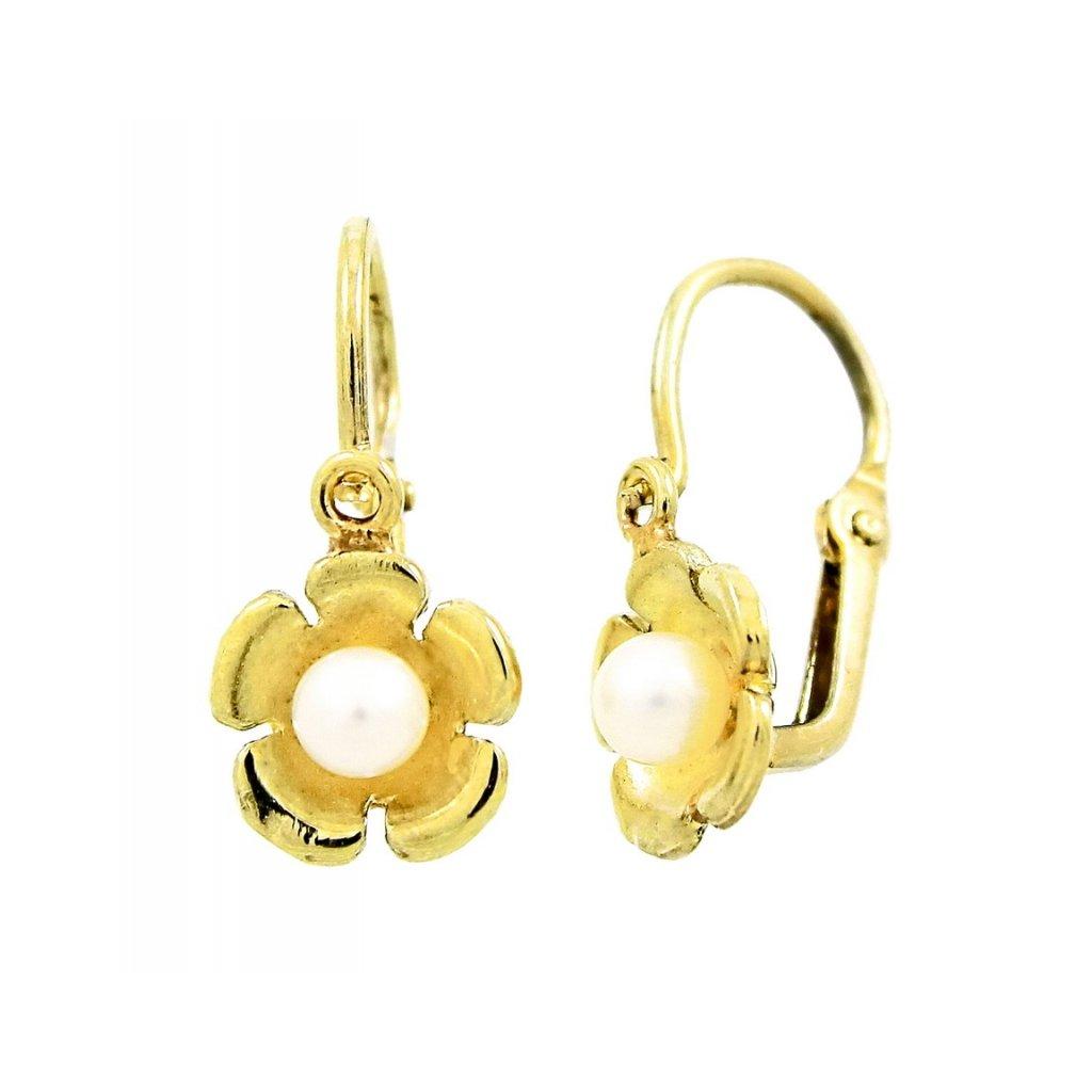 krásne detské náušnice zo zlata s perlami