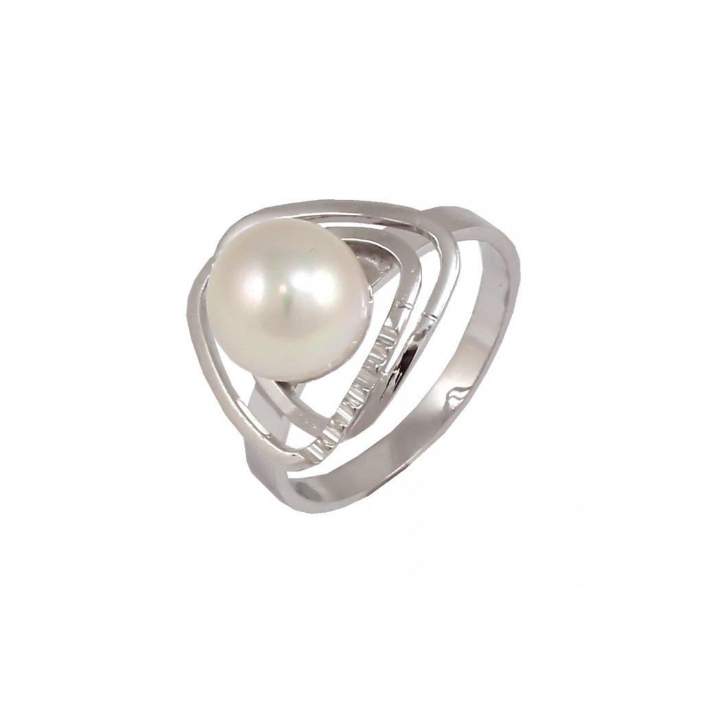 Zaujímavý prsteň z bieleho zlata s perlou 22139 BPX