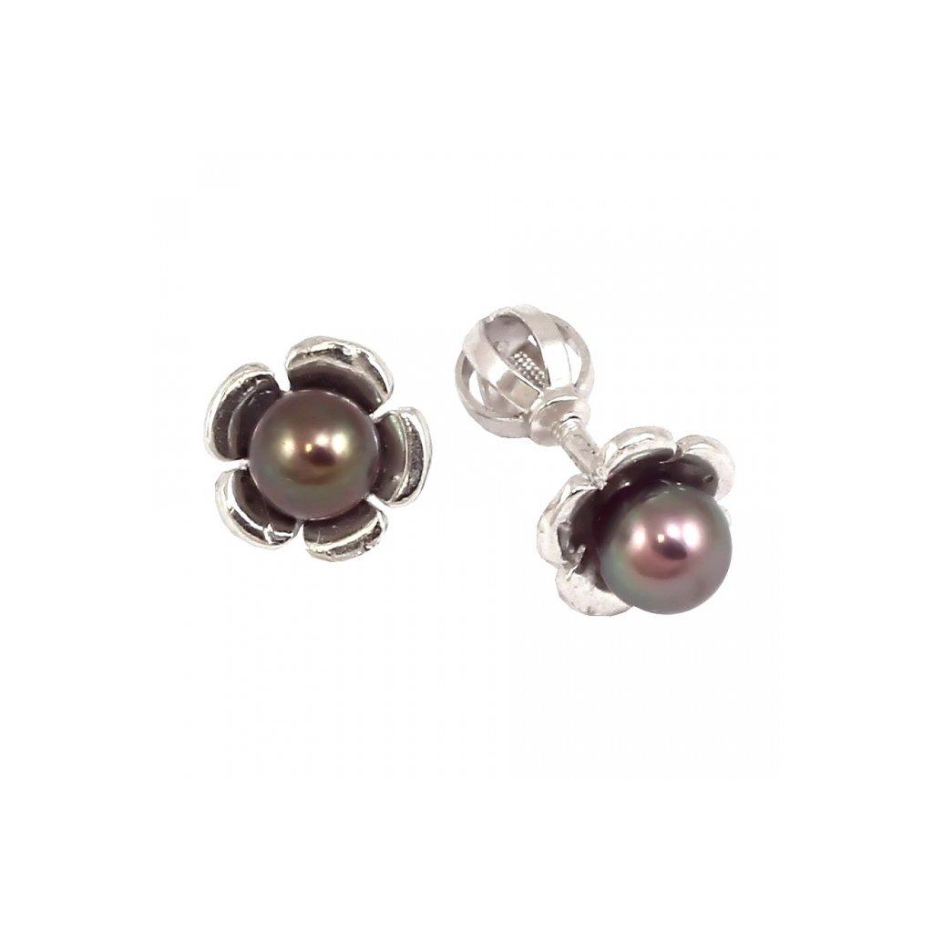 Šrobovacie perlové náušnice z bieleho zlata 23173BPy