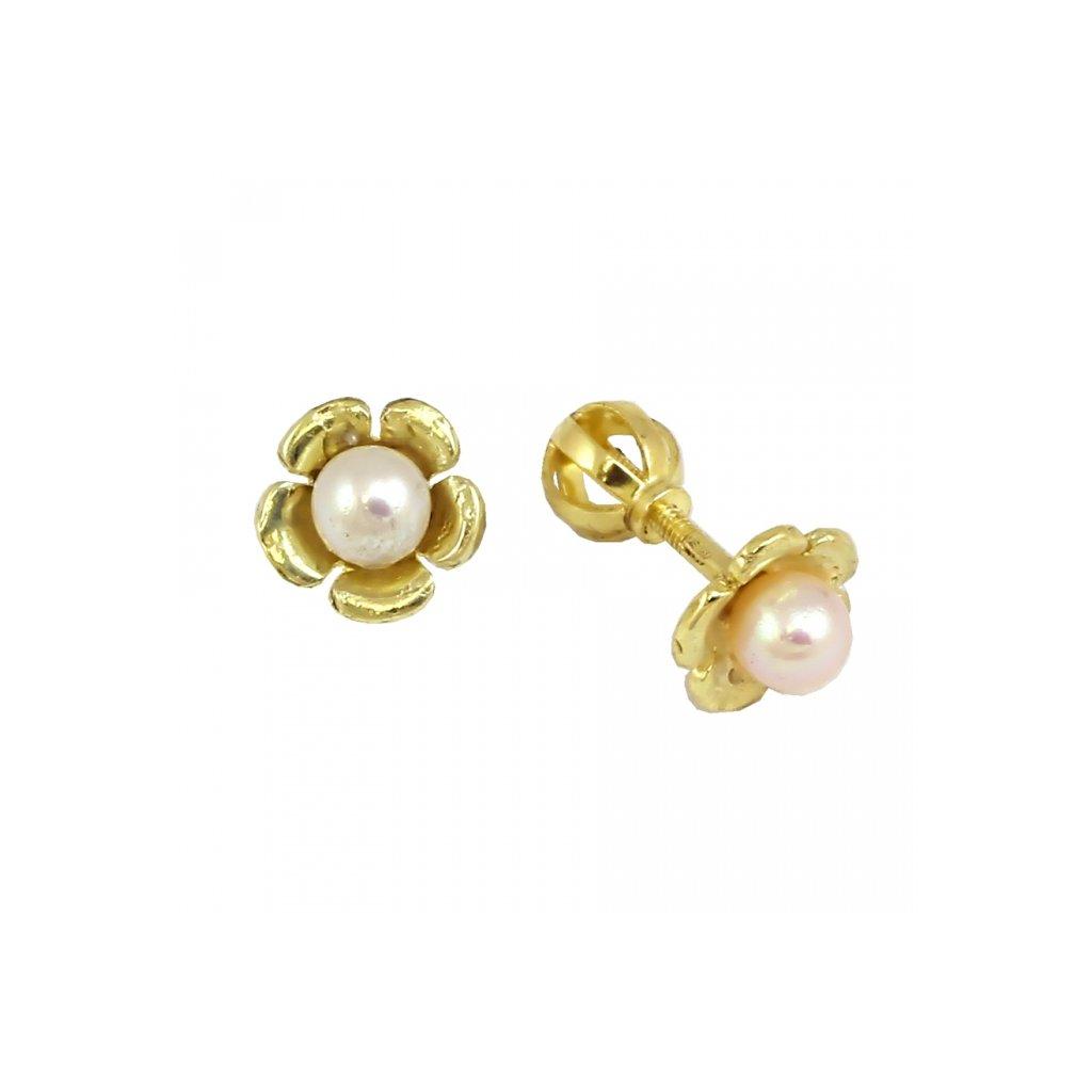 Šrobovacie perlové náušnice zo žltého zlata 23173ZPx