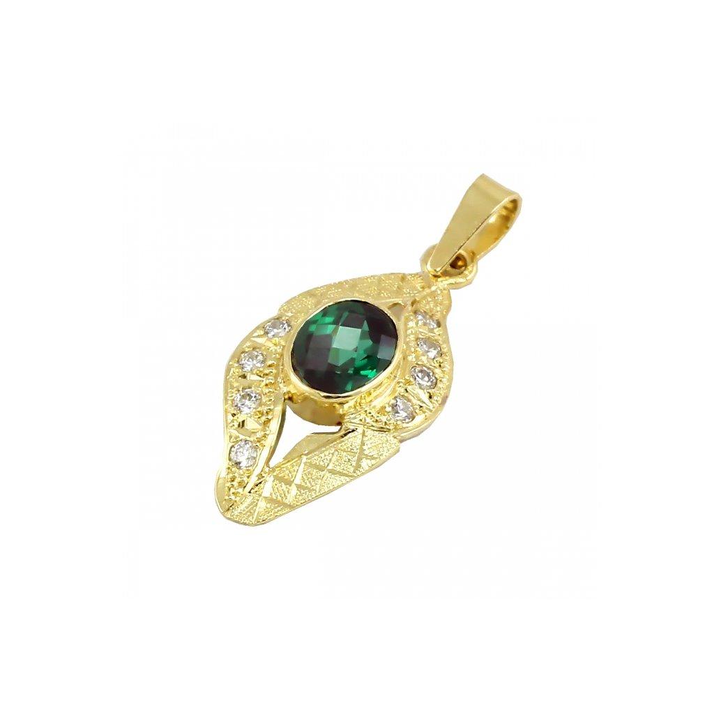Zlatý privesok so zeleným a bielým zirkónom  2393ZZX