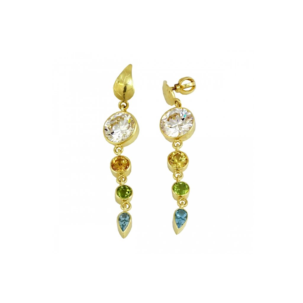 exkluzívne zlaté náušnice s farebnými kamienkami 23178