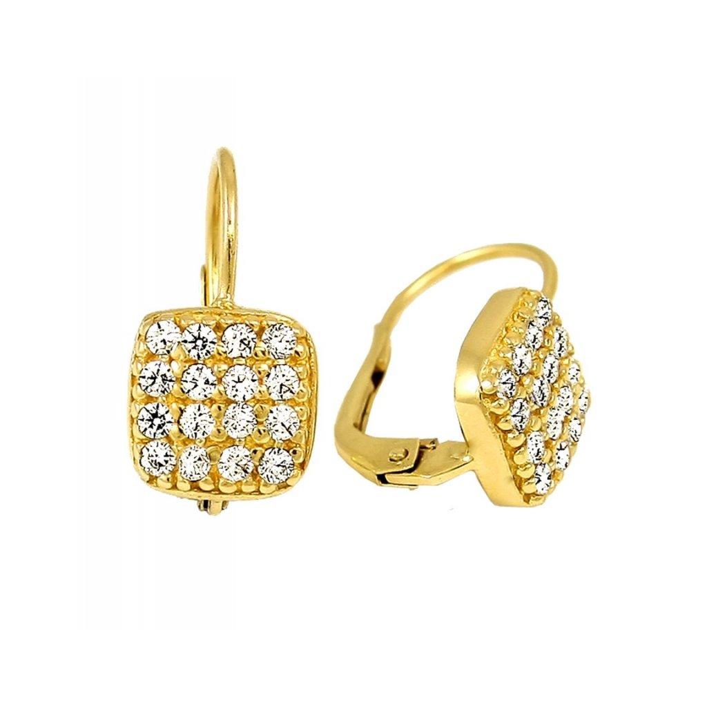 zlaté náušnice s kamienkami 23129