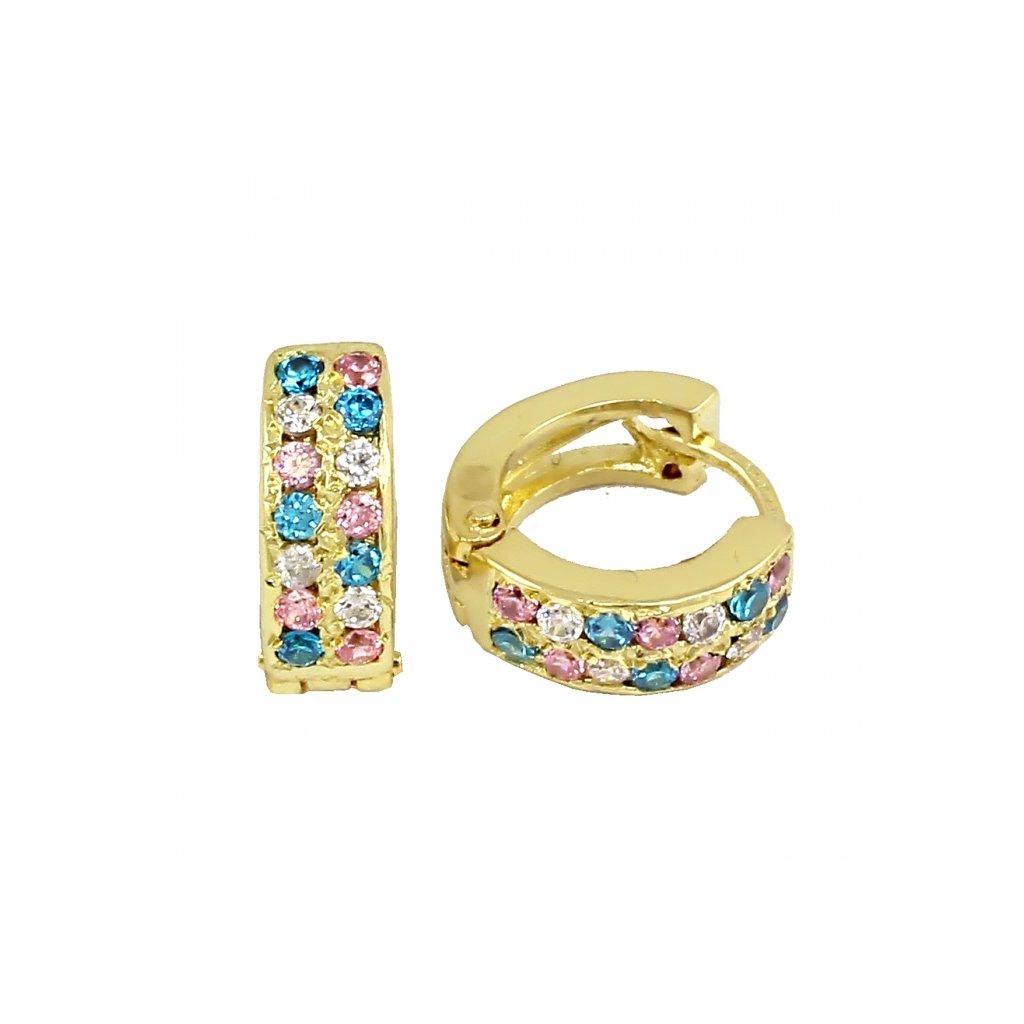 zlaté náušnice s farebnými kamienkami 23181