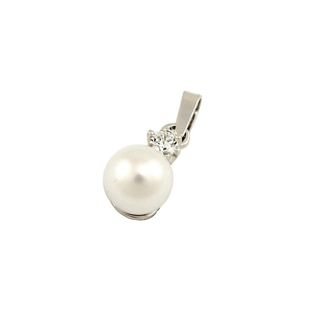zlatý prívesok s perlou 15111B