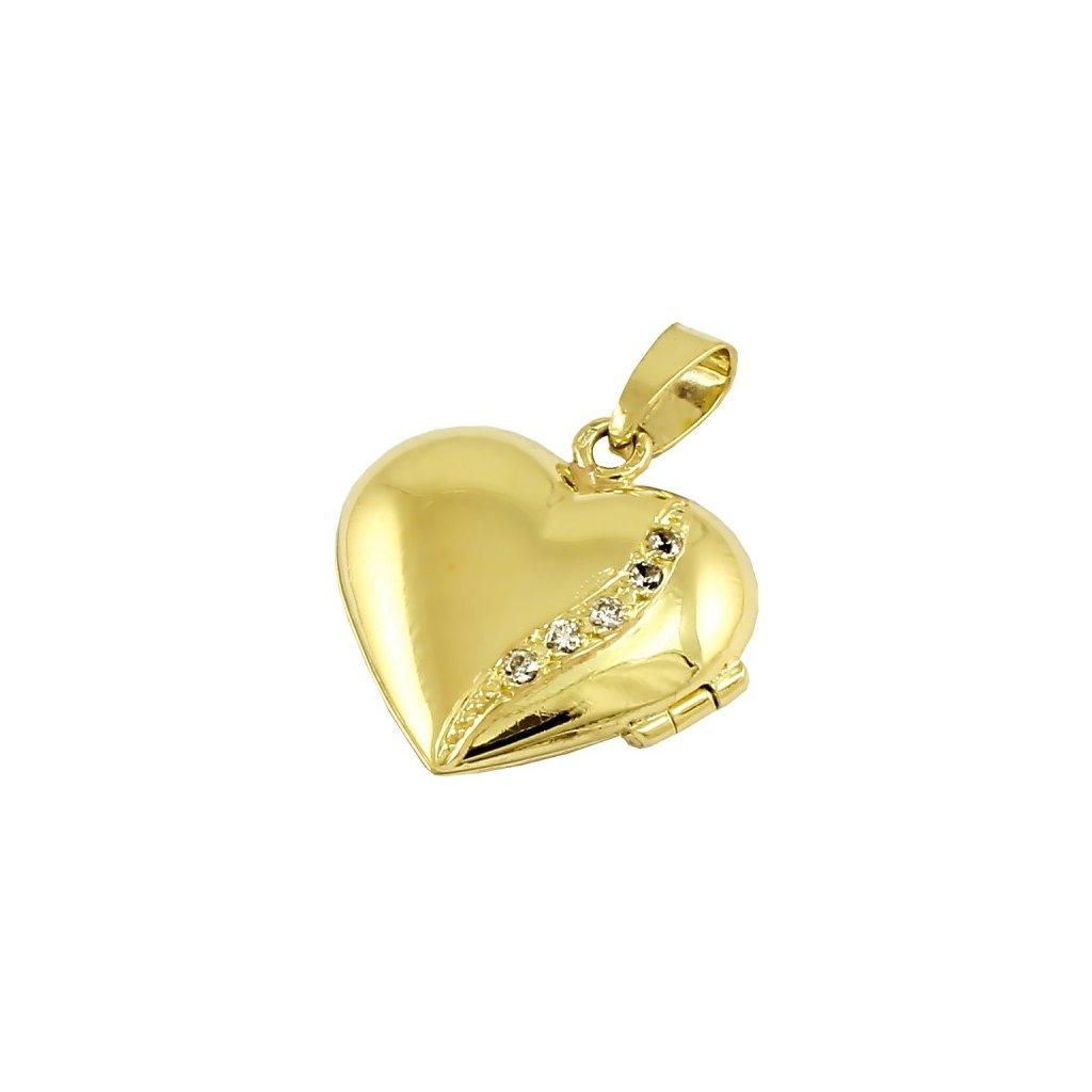 Zlatý privesok srdce so zirkónmi 2446ZX