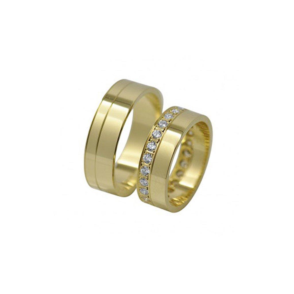 zlaté svadobné obrúčky s kamienkami 2014047