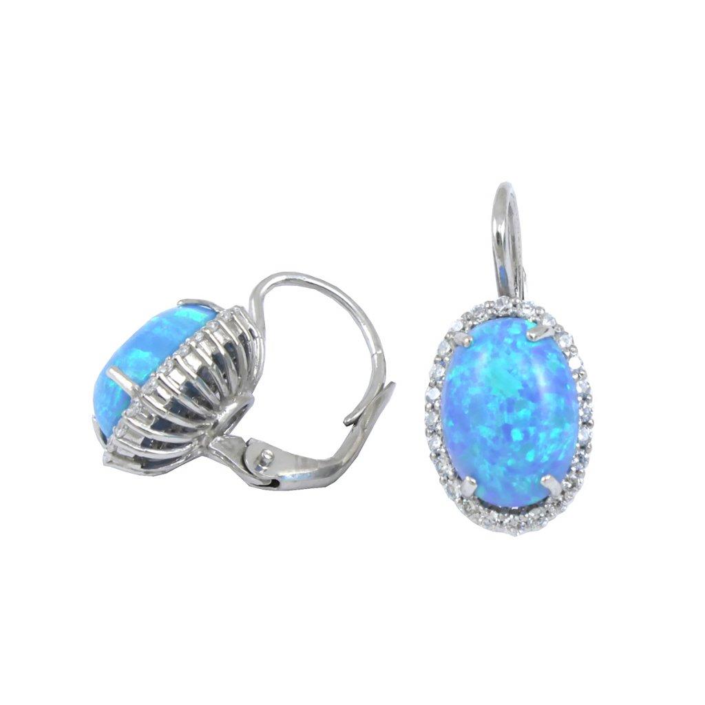 23160 náušnice z bieleho zlata s modrým kameňom