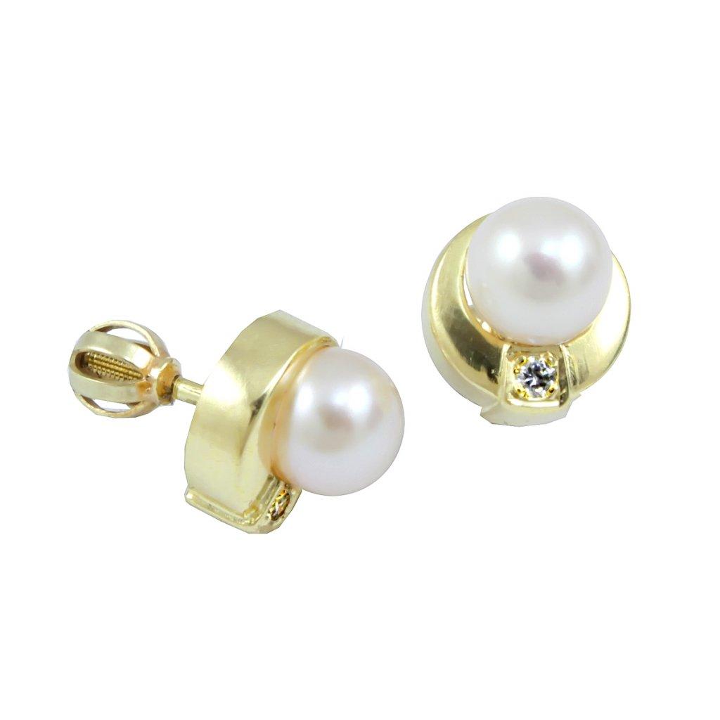 23191 Zlaté šrobovacie náušnice s perlami