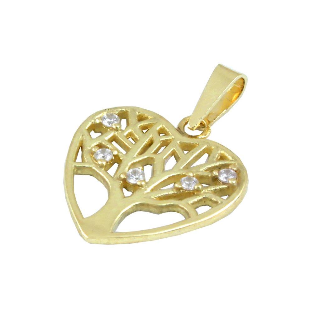 Zlatý privesok srdce strom štasta 2411 Z X 1