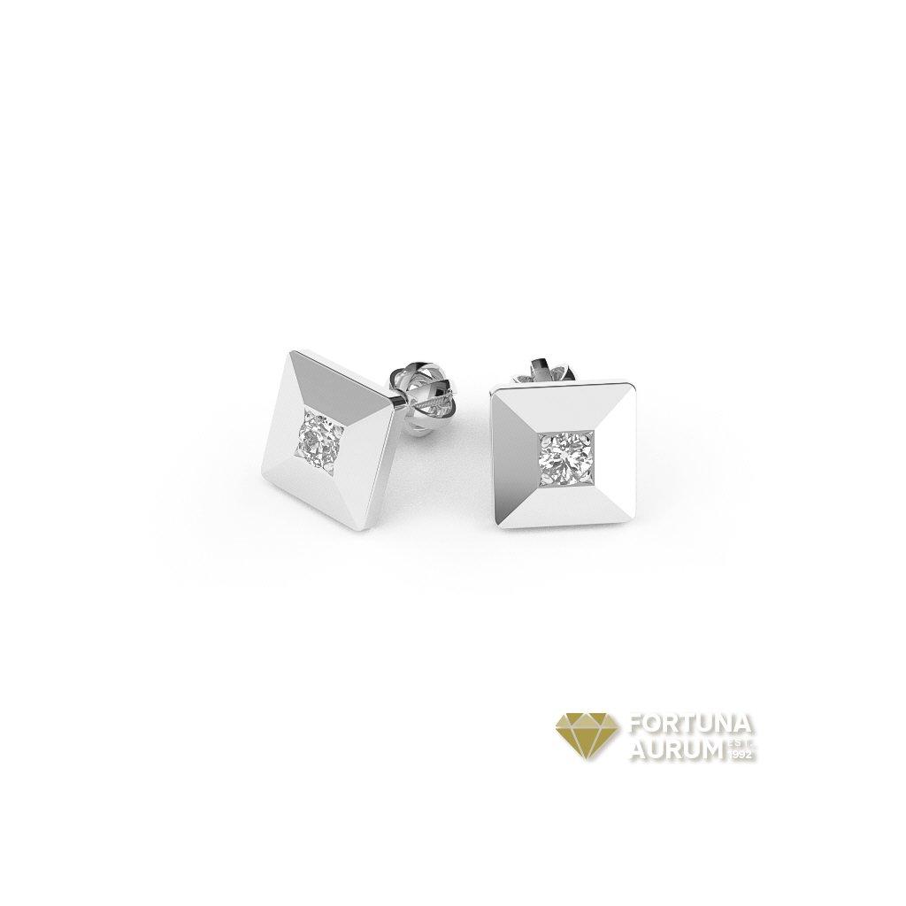 23196 štvorcové náušnice z bieleho zlata