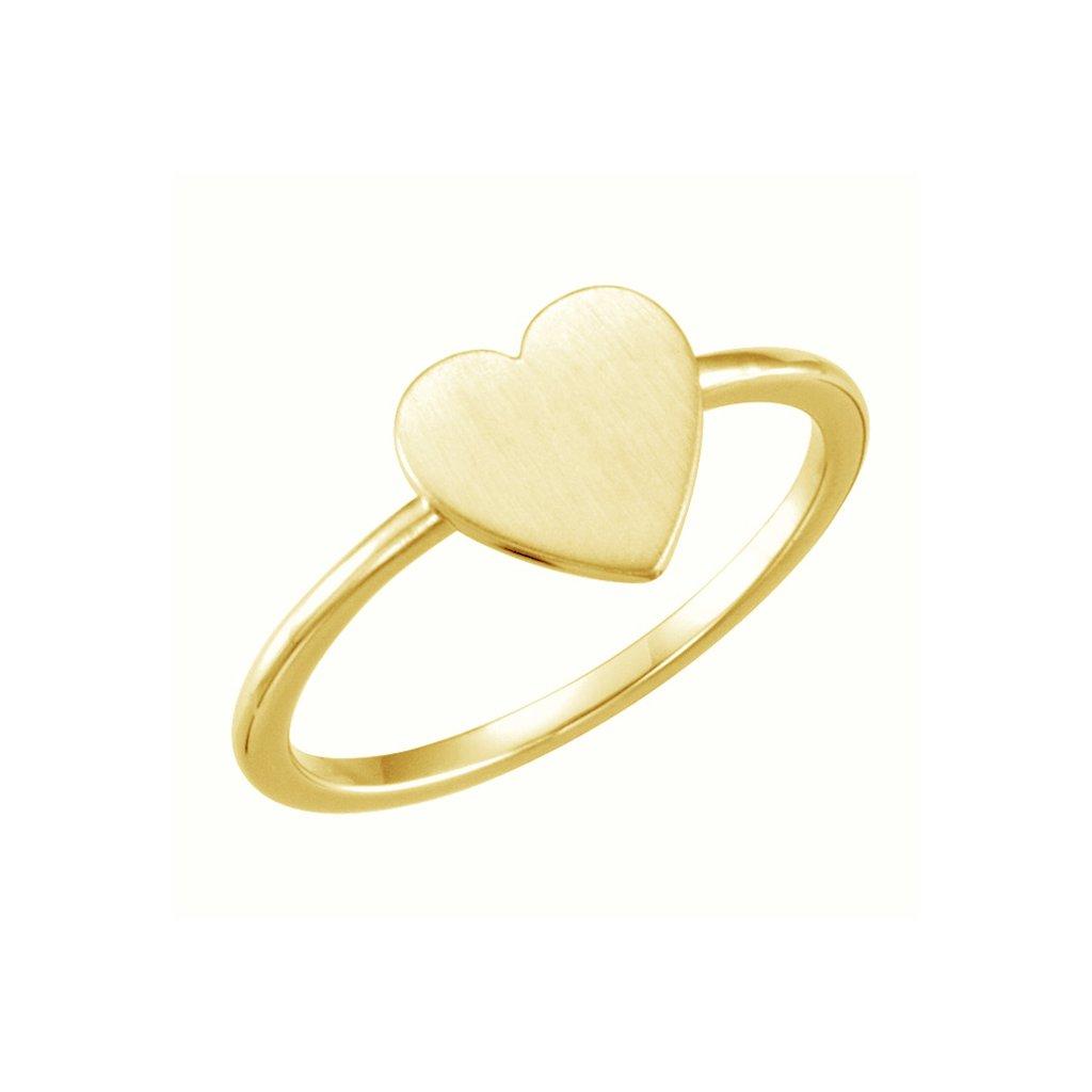srdiečkový zlatý prsteň
