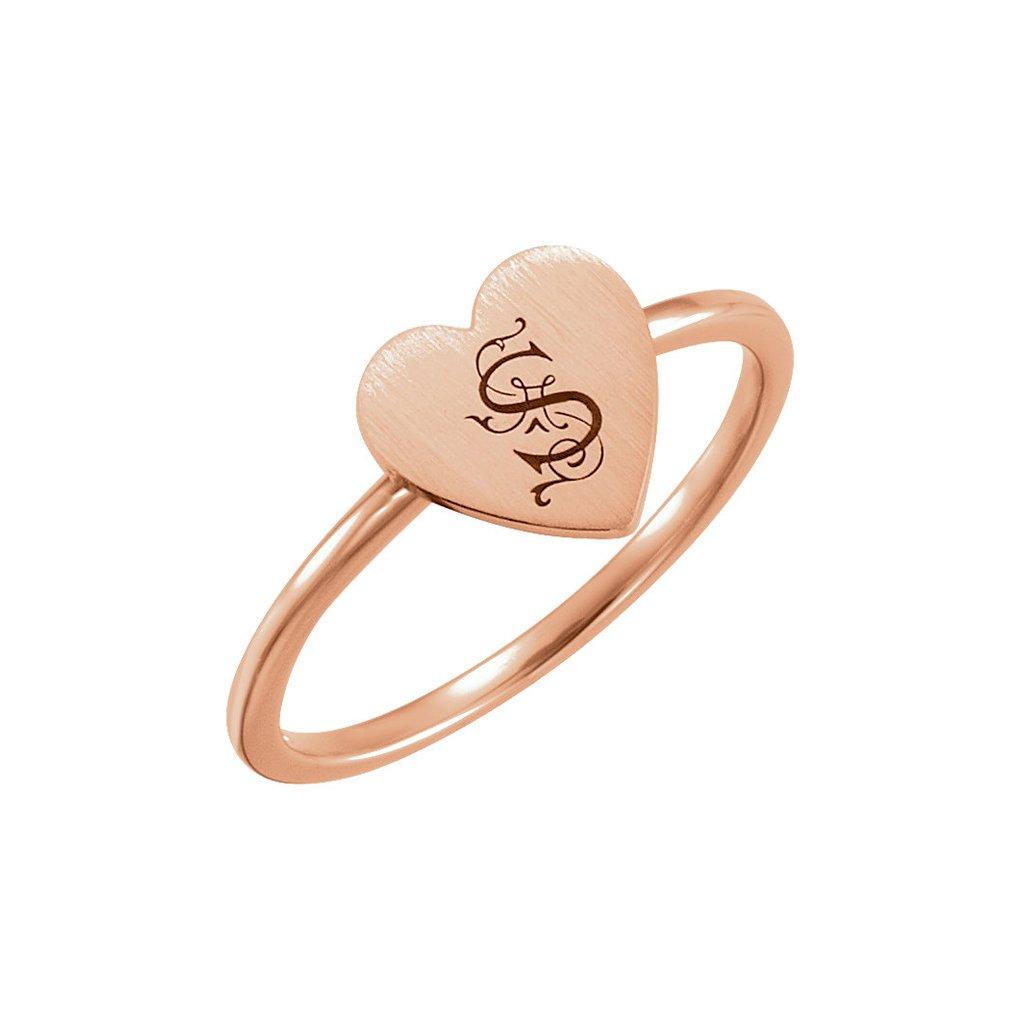 prsteň z ružového zlata - srdiečko51408 r