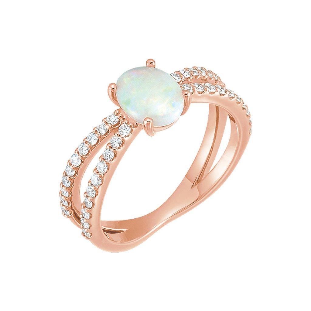 71934 prsteň z ružového zlata s opálom