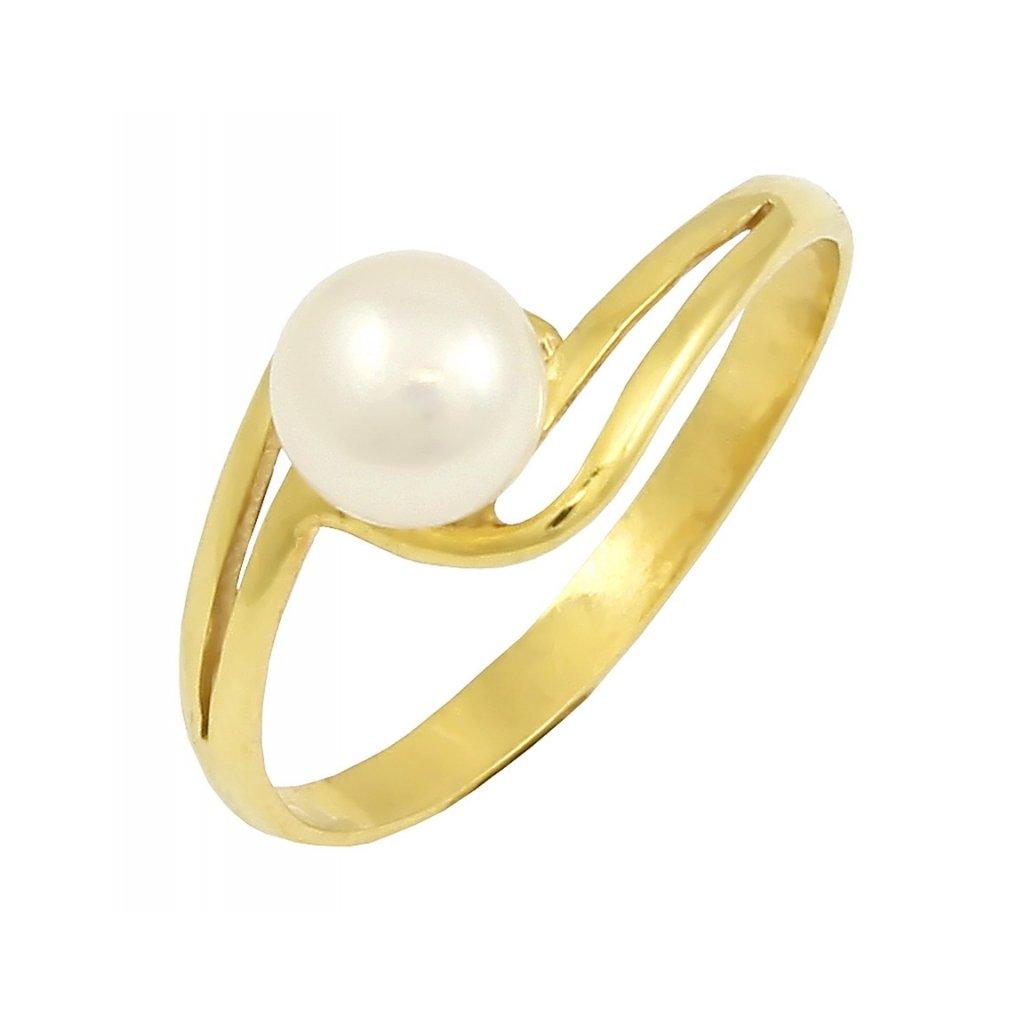 Prsteň zo žltého zlata s perlou 2242ZP