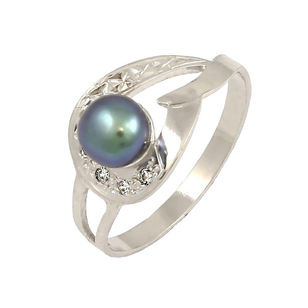Netradičný prsteň z bieleho zlata s perlou i2270BPX