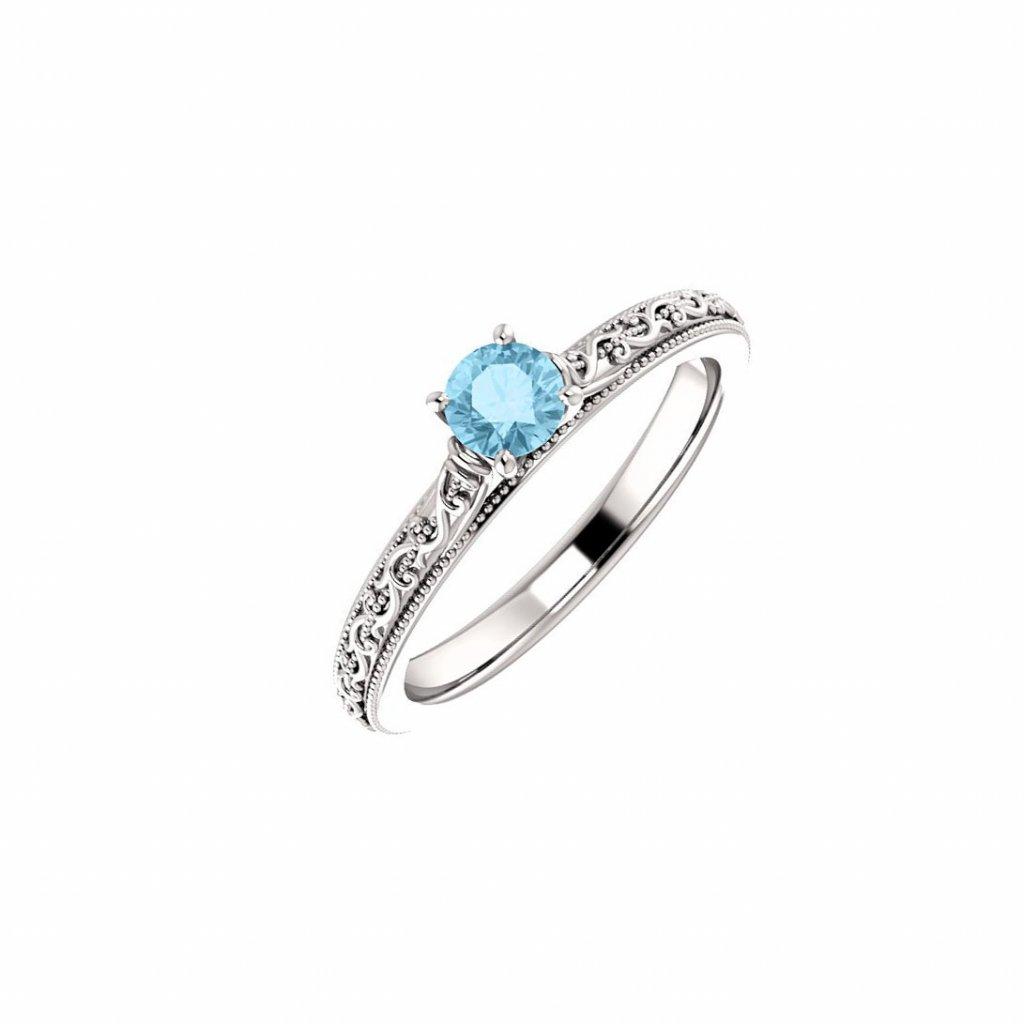 Zlatý prsteň s akvamarínom 22151/b/b