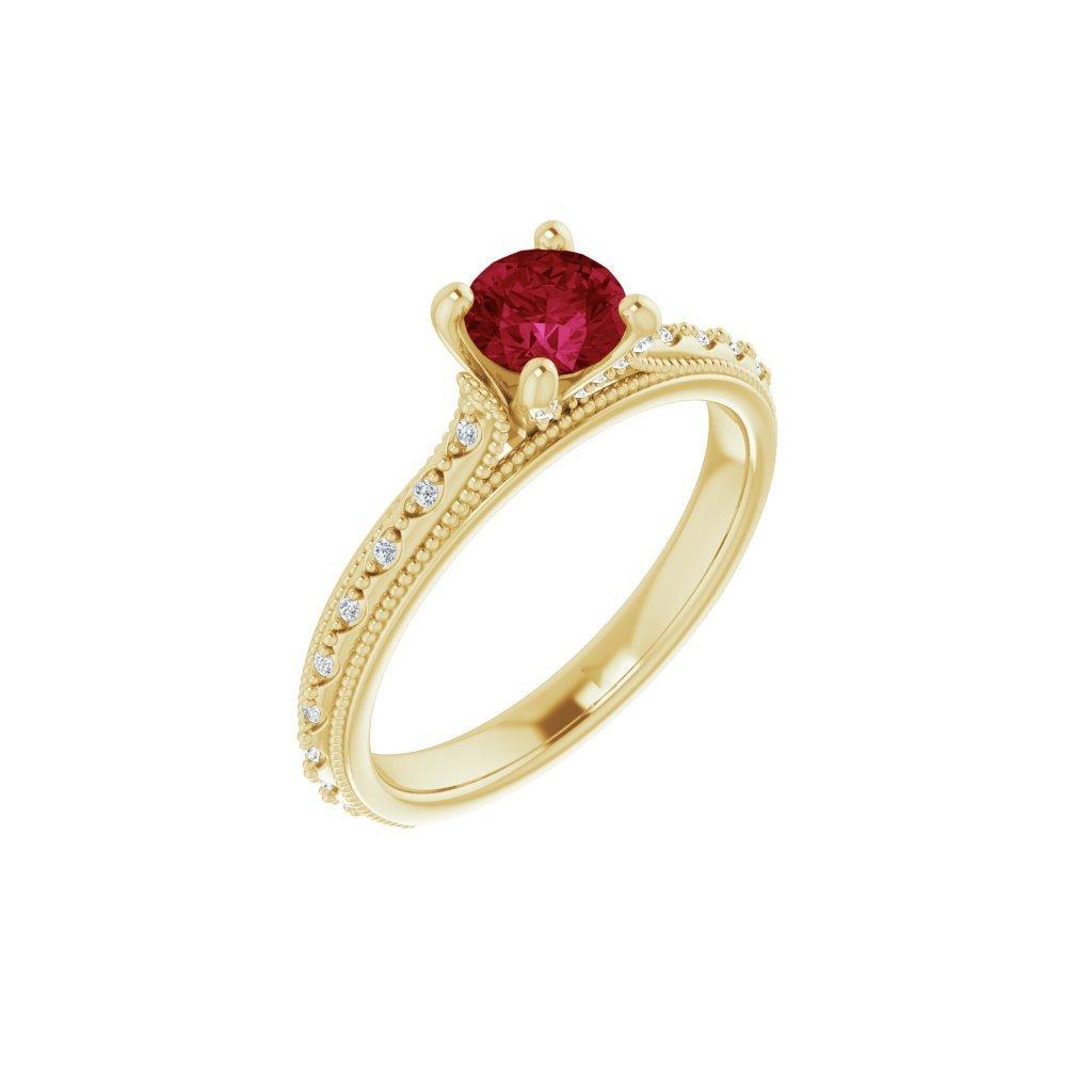 123161/22150B Z CX Briliantový prsteň zo žltého zlata s rubínom