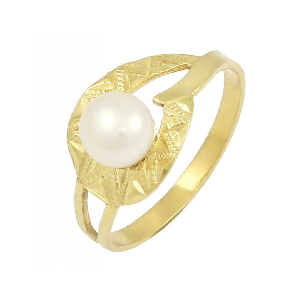 Prsteň zo žltého zlata s perlou 2287ZP