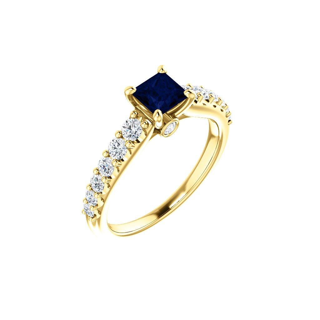 Briliantový prsteň so zafírom 123539zzb